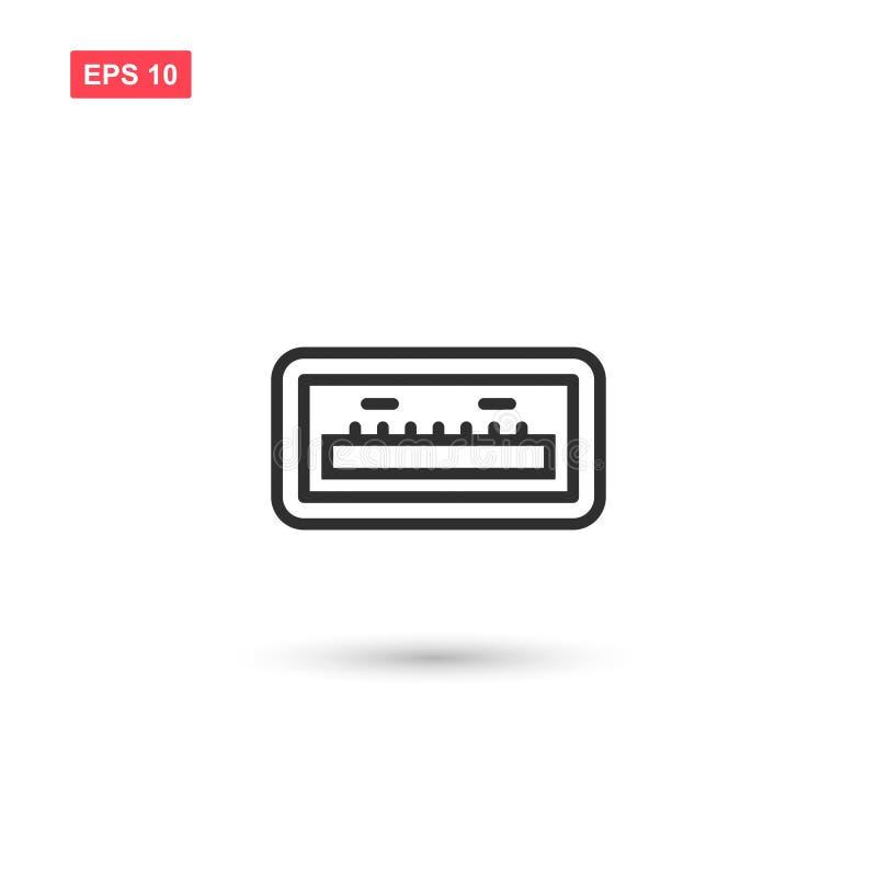 USB端口象传染媒介设计隔绝了2 库存例证