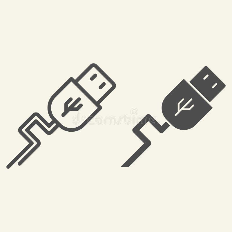 USB线和纵的沟纹象 调动在白色隔绝的传染媒介例证 绳子概述样式设计,设计为网和 向量例证