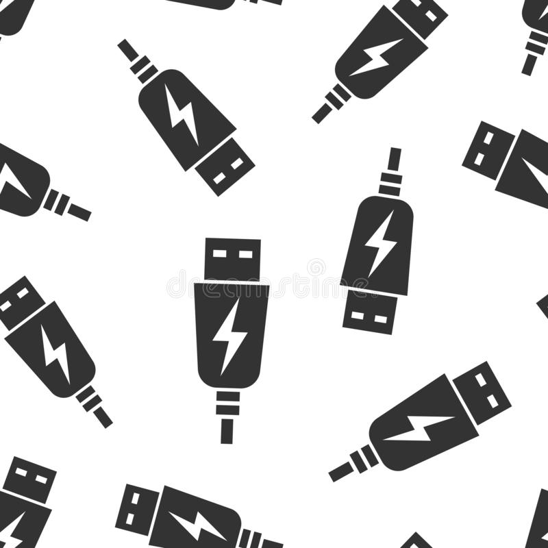 Usb缆绳象无缝的样式背景 在白色被隔绝的背景的电充电器传染媒介例证 电池适配器 皇族释放例证