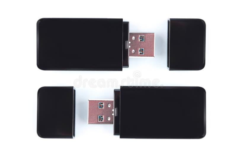 USB记忆在白色背景隔绝的棍子或USB闪光驱动 库存照片