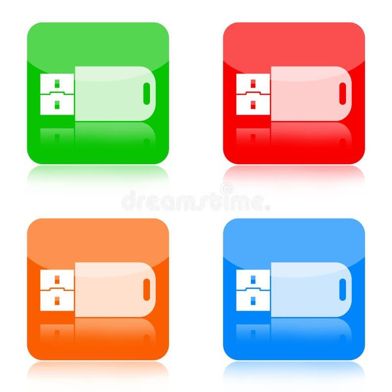 USB闪光推进图标 皇族释放例证