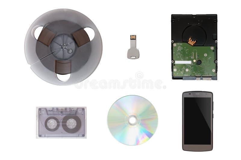 USB闪光驱动塑造了关键,手机, CD/DVD,磁带,坚硬D 库存图片
