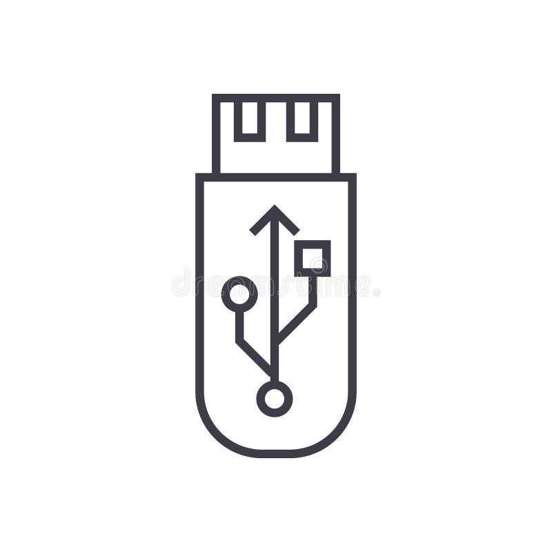 Usb闪光 存储卡传染媒介线象,标志,在背景,编辑可能的冲程的例证 库存例证