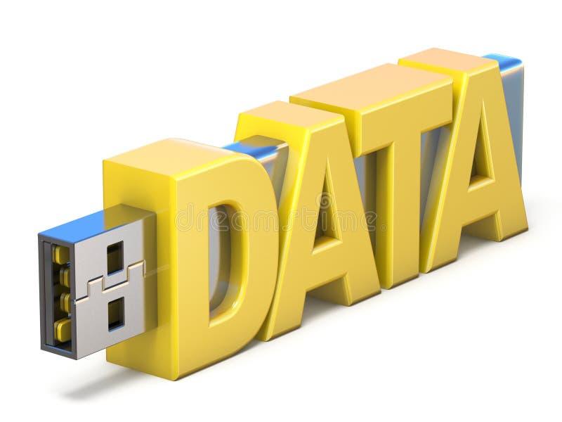 USB闪存忠心于词数据3D 库存例证