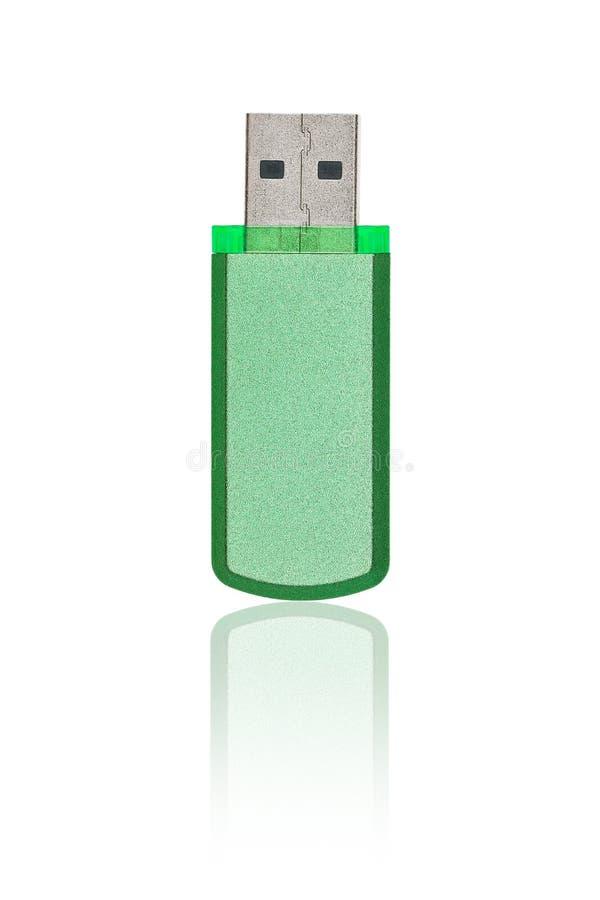 USB που απομονώνεται πράσινο στο λευκό στοκ εικόνα