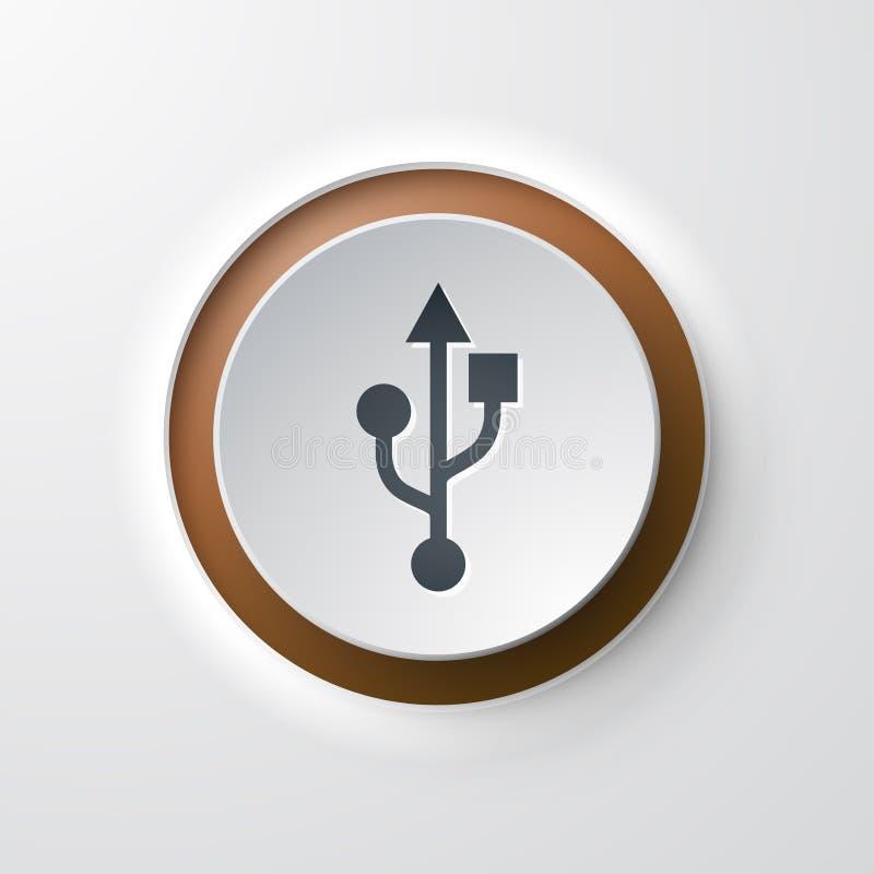 Usb значка сети кнопочный иллюстрация вектора