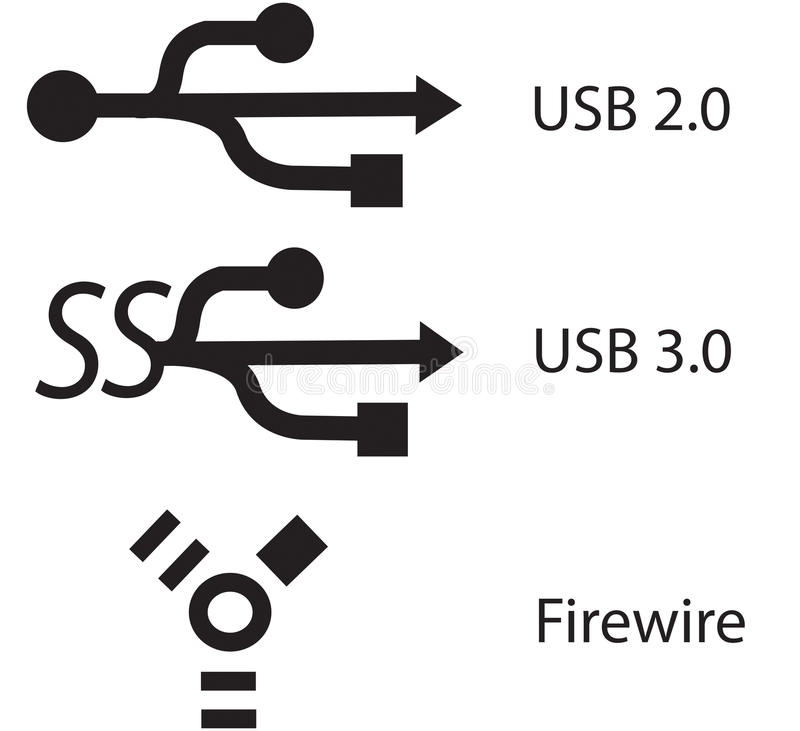 Free USB 2.0, 3.0 And Firewire Sign Symbol Stock Images - 37068184