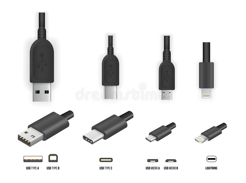 Types Of Usb Cable Ends : Usb all type stock vector illustration of storage line