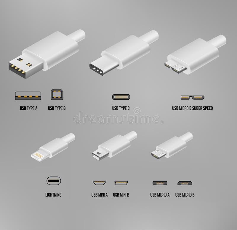 USB all type stock illustration