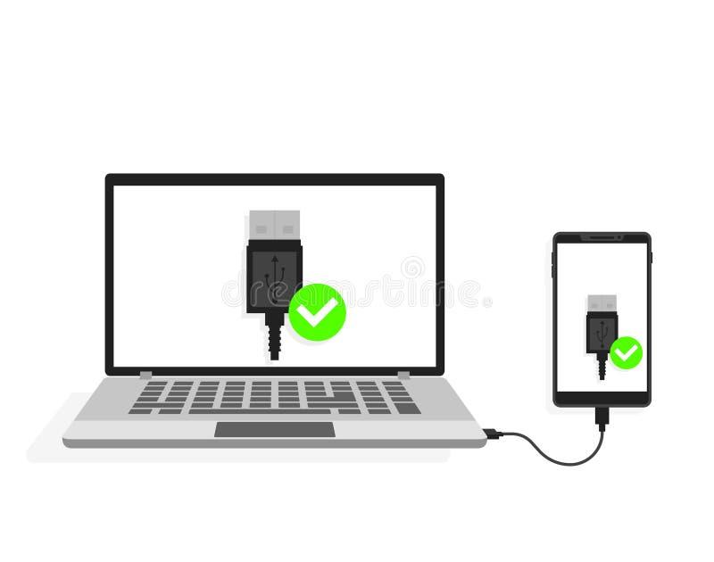USB anslutning av bärbara datorn till smartphonen också vektor för coreldrawillustration stock illustrationer