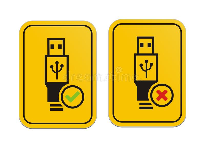 USB available and USB not available yellow signs