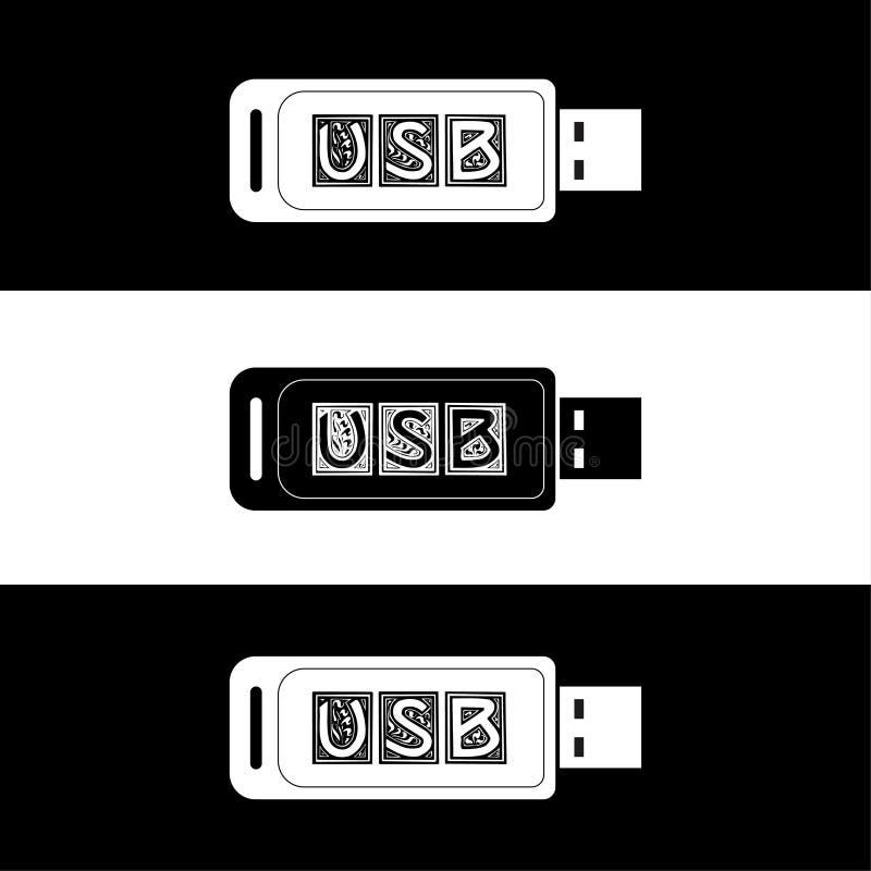 Usb Azionamento istantaneo Azionamento del pollice Memoria flash progettazione della chiavetta USB in bianco e nero illustrazione di stock