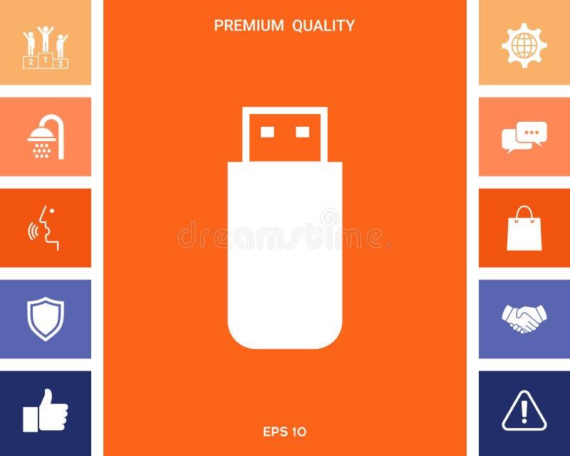 USB błyskowej pamięci przejażdżki ikona ilustracji