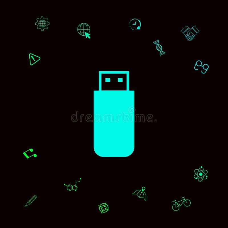 USB błyskowej pamięci przejażdżki ikona Graficzni elementy dla twój designt ilustracji