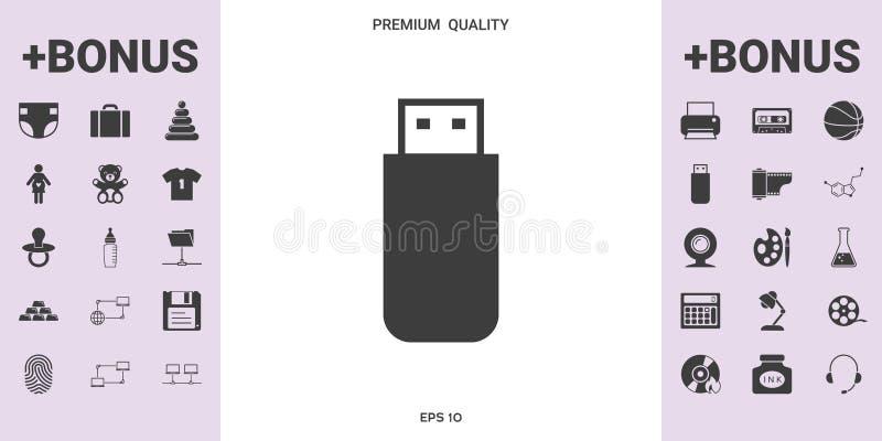 USB błyskowej pamięci przejażdżki ikona - graficzni elementy dla twój projekta royalty ilustracja