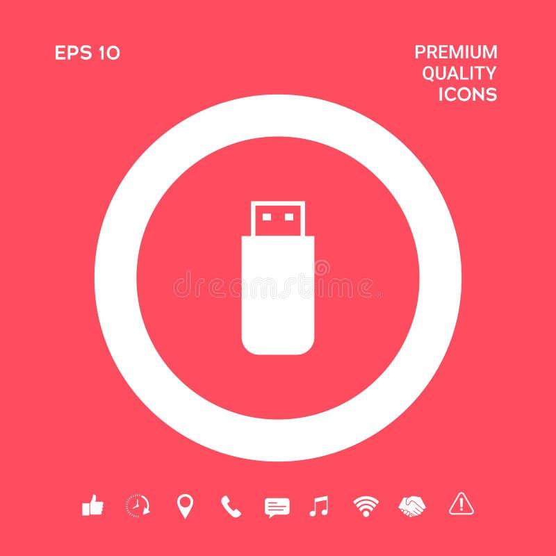 USB błyskowej pamięci przejażdżki ikona Graficzni elementy dla twój projekta royalty ilustracja