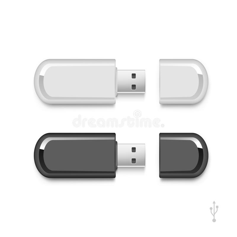 USB błysku przejażdżki kija pamięci wektor Ustawiający Odizolowywającym royalty ilustracja
