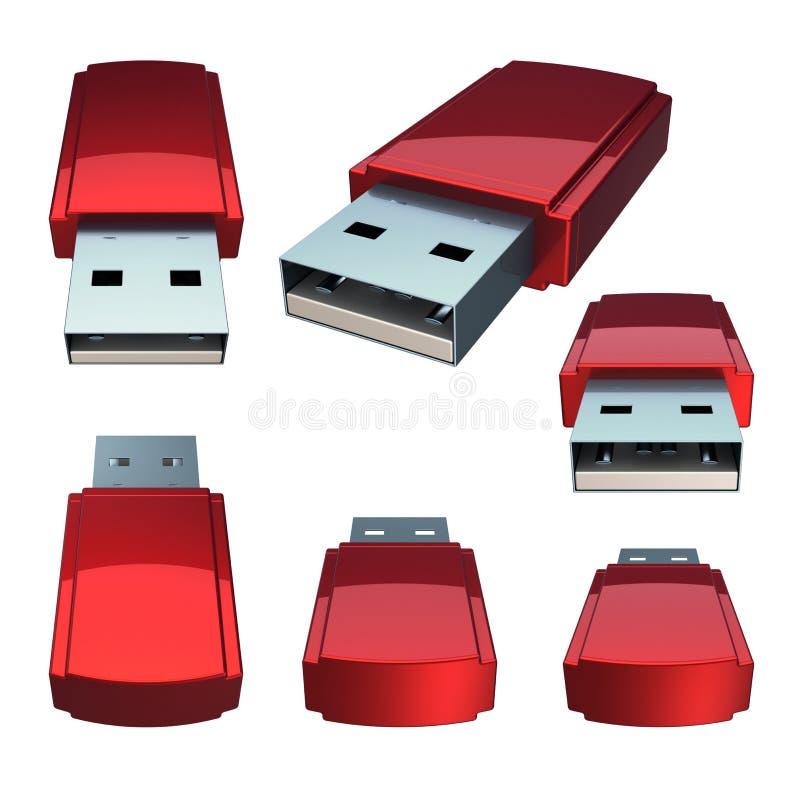 USB błysku przejażdżki pamięci kij ustawia w górę czerwieni Składowa dongle prymka royalty ilustracja
