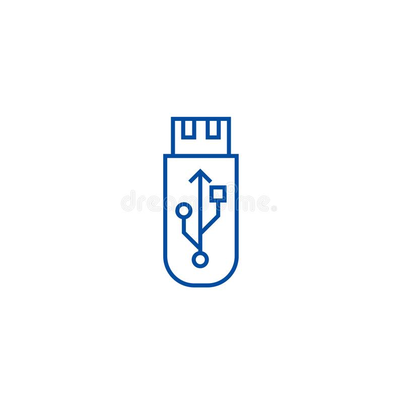 Usb b?ysk Karty pamięci ikony kreskowy pojęcie Usb b?ysk Karta pamięci płaski wektorowy symbol, znak, kontur ilustracja royalty ilustracja