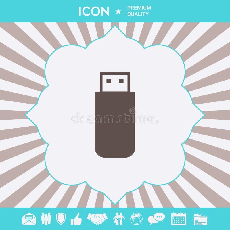 USB b?yskowej pami?ci przeja?d?ki ikona Graficzni elementy dla tw?j projekta ilustracja wektor