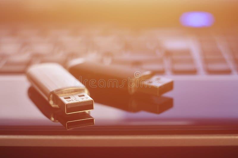 USB bildkort som ligger på den svarta bärbara datorn, case framme av hans tangentbord Lagring för faktiskt minne med USB outpuen royaltyfria foton