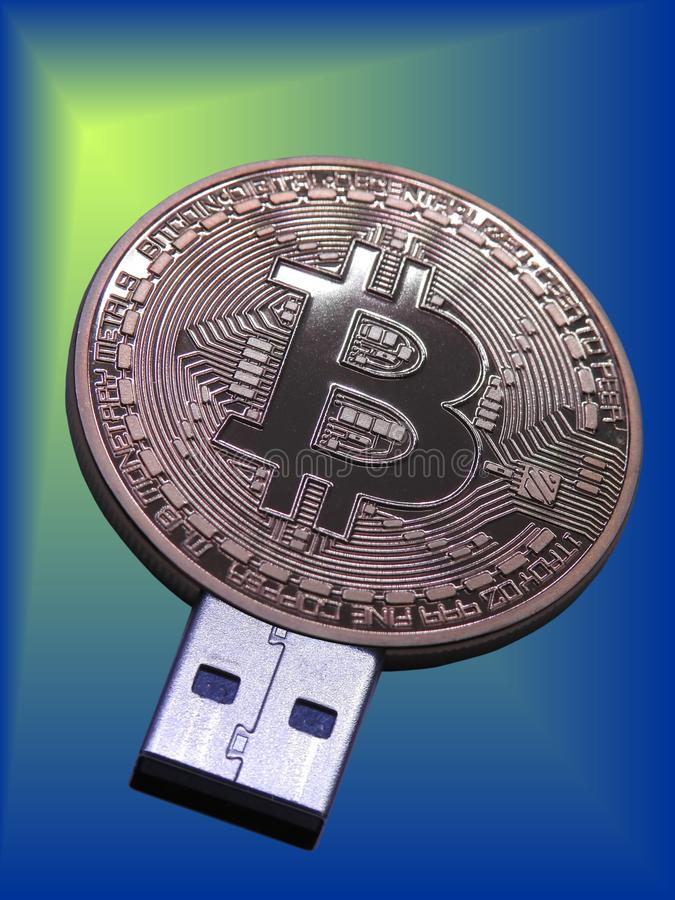 USB Bitcoin闪光驱动 免版税库存图片