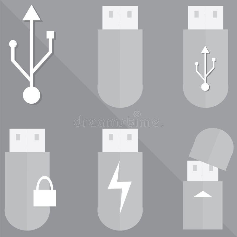USB-Blitzlaufwerkssymbol auf grauem Hintergrund stockbilder