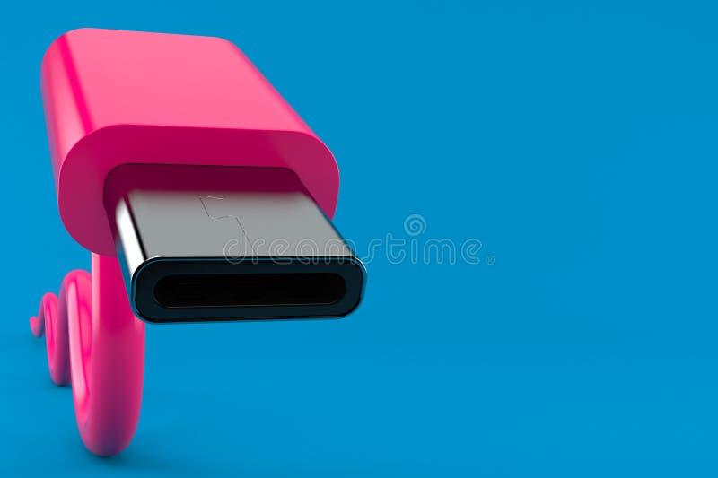 USB-C plug close-up. Isolated on blue background. 3d illustration vector illustration