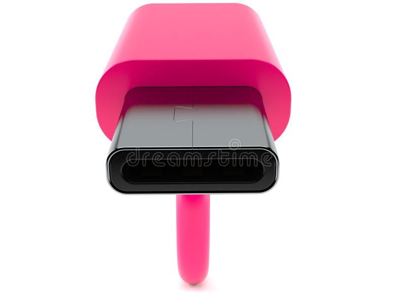 USB-C plug close-up. Isolated on white background vector illustration