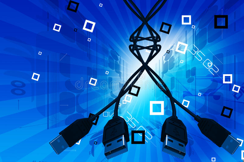 USB cable. Digital illustration of USB cable in abstract color background stock illustration