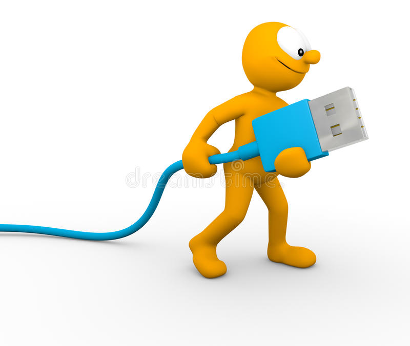 USB cable. Happy character holding a usb cable vector illustration