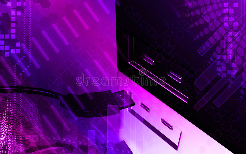 USB cable. Digital illustration of a USB cable in violet light stock illustration