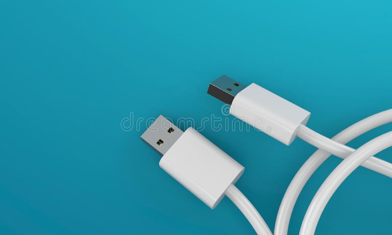 USB cable on blue background. USB cable with blank space on blue background royalty free illustration