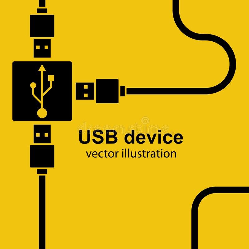 USB cable are connected to hub royalty free illustration