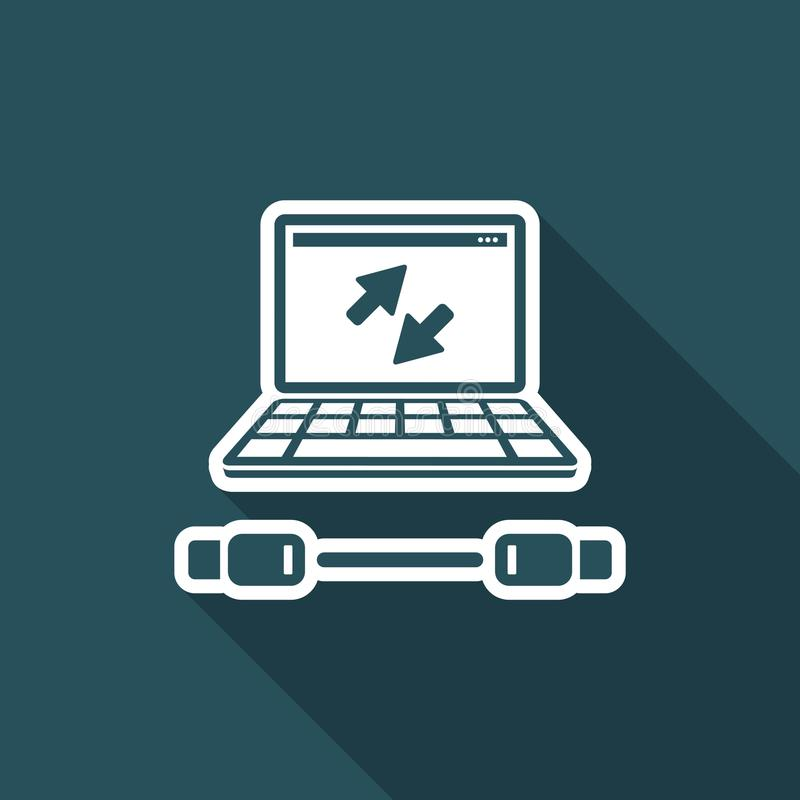 Usb cable connection - Flat minimal icon. Flat and isolated vector eps illustration icon with minimal design and long shadow stock illustration