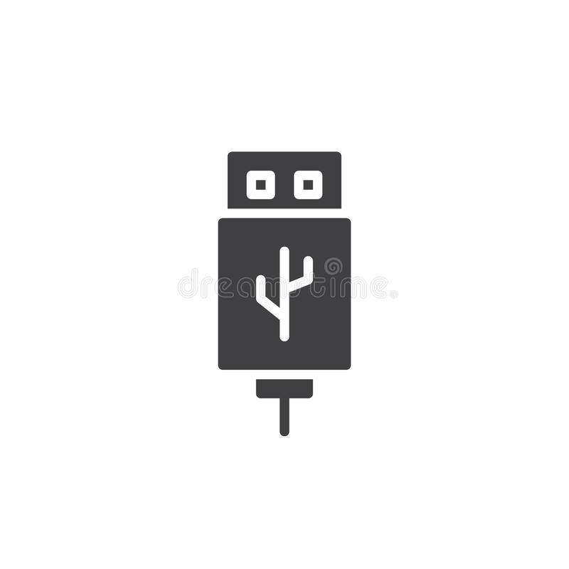 USB cable connector cord icon vector. Filled flat sign, solid pictogram isolated on white. Symbol, logo illustration royalty free illustration