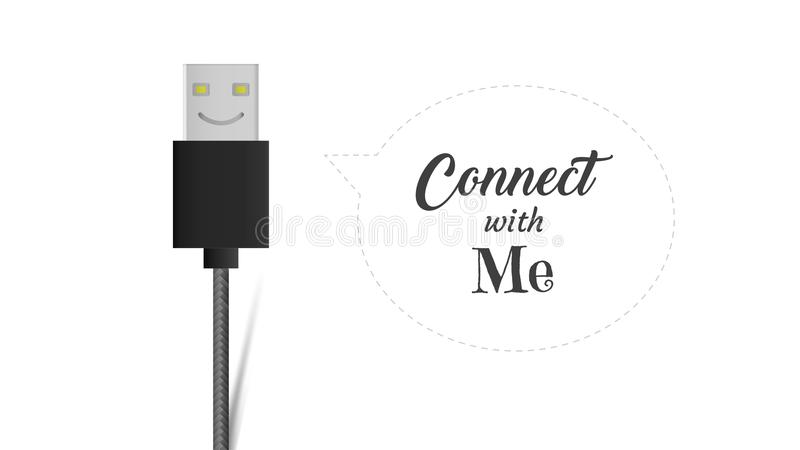USB cable connector cord smiling icon, Flat vector cable port sign on white background with connect with me message. royalty free illustration