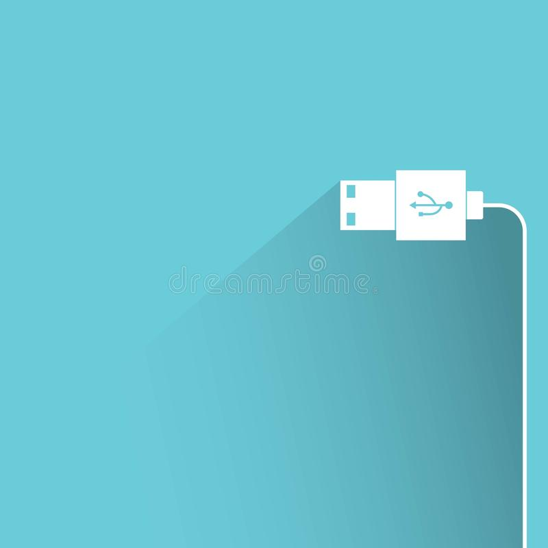 Usb cable. With drop shadow on blue background royalty free illustration