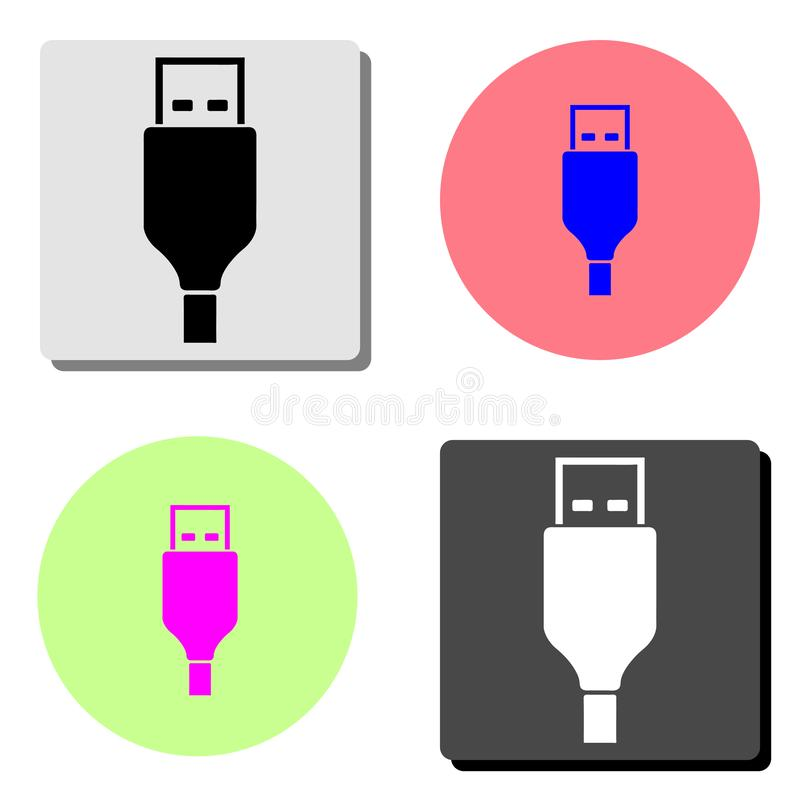 USB cable. flat vector icon. USB cable. simple flat vector icon illustration on four different color backgrounds stock illustration