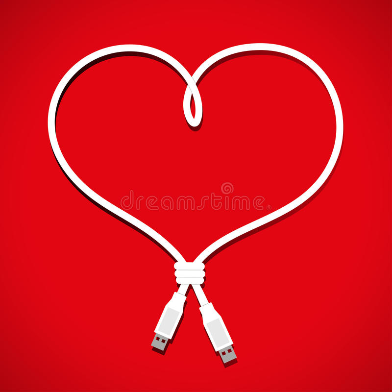 Usb cable heart. Design in format stock illustration