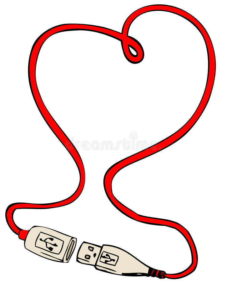 USB cable heart vector illustration