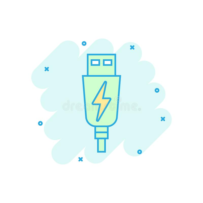 Usb cable icon in comic style. Electric charger vector cartoon illustration on white isolated background. Battery adapter splash. Effect business concept stock illustration