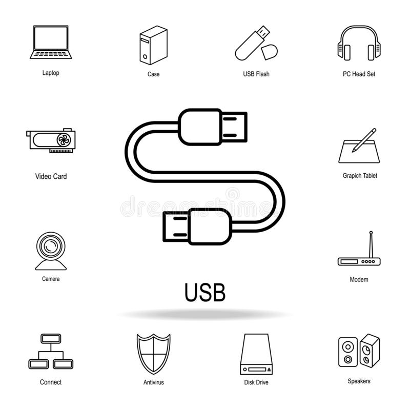 USB cable icon. Detailed set of computer part icons. Premium graphic design. One of the collection icons for websites, web design. Mobile app on white stock illustration