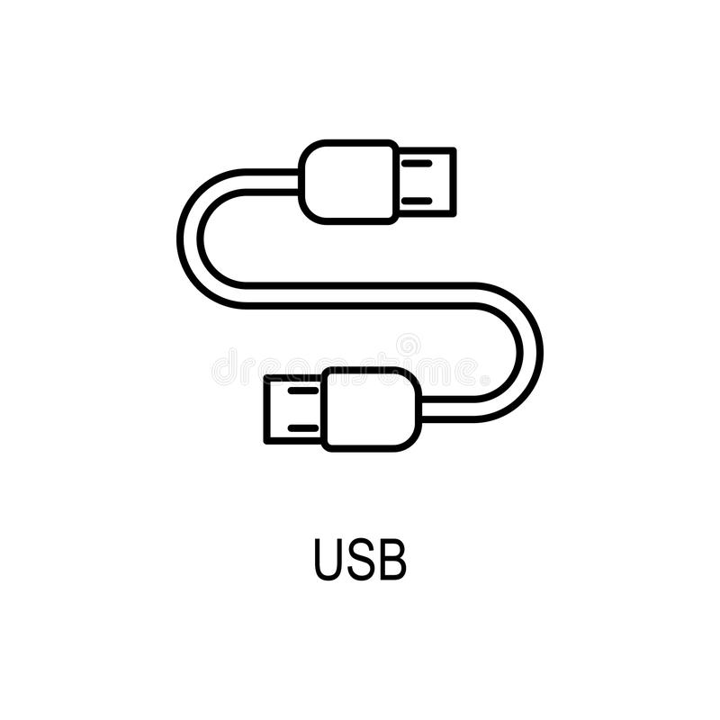 USB cable icon. Element of computer part for mobile concept and web apps. Thin line icon for website design and development, app vector illustration