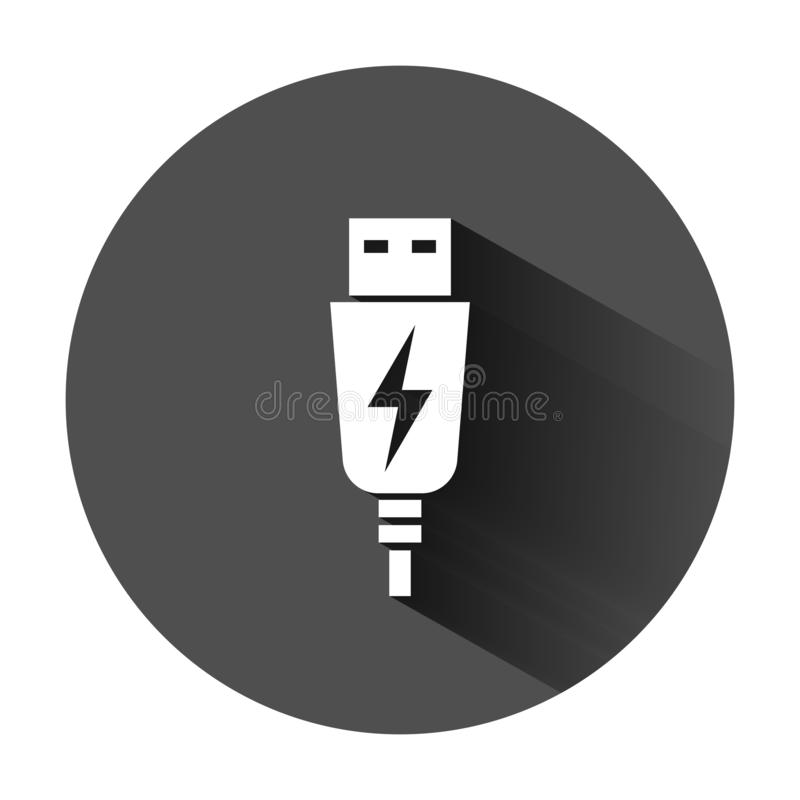 Usb cable icon in flat style. Electric charger vector illustration on black round background with long shadow. Battery adapter. Business concept royalty free illustration