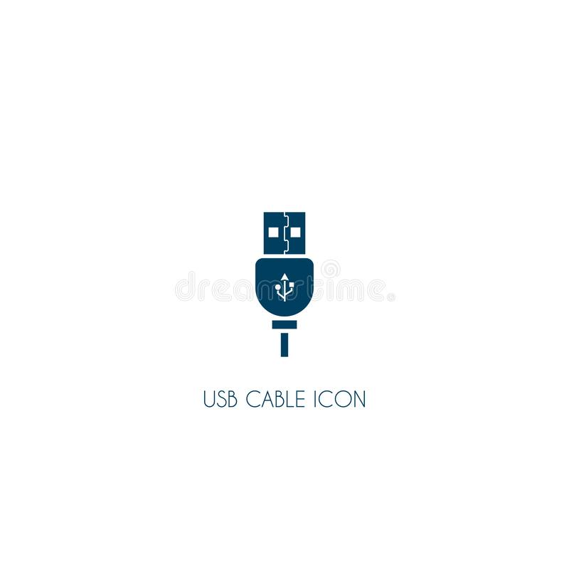 Usb cable icon. vector symbol isolated on white background. EPS10, connect, connection, data, equipment, plug, technology, computer, design, transfer, connector stock illustration
