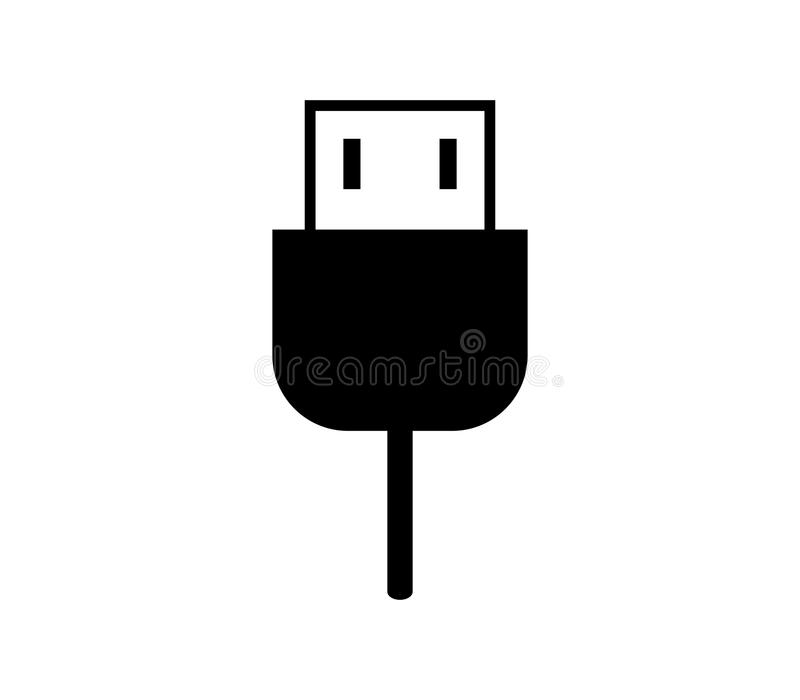 Usb cable icon. On white background royalty free illustration