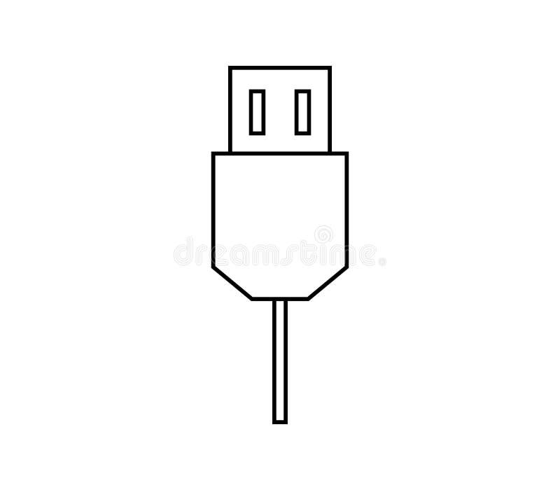 Usb cable icon. On white background stock illustration