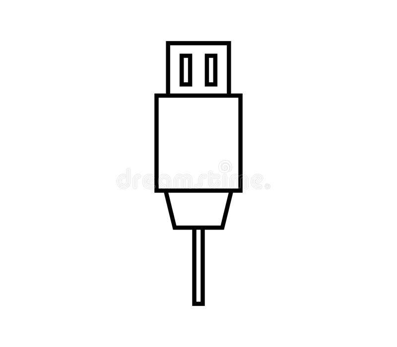 Usb cable icon. On white background vector illustration