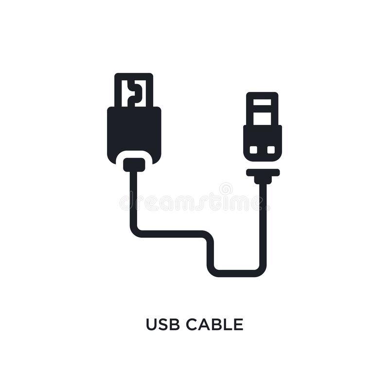 Usb cable isolated icon. simple element illustration from electronic stuff fill concept icons. usb cable editable logo sign symbol. Design on white background royalty free illustration